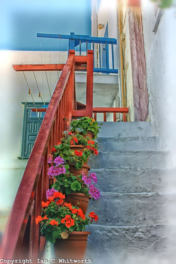 Flower pots up the stairs on a Mykonos street.