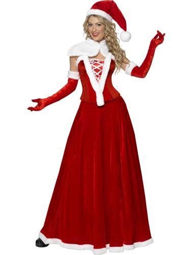Santa Luxury Longer Length Ladies Christmas Fancy Dress Costume - Santa's Sweetie Christmas Ladies Fancy Dress Costume Xmas Costume
