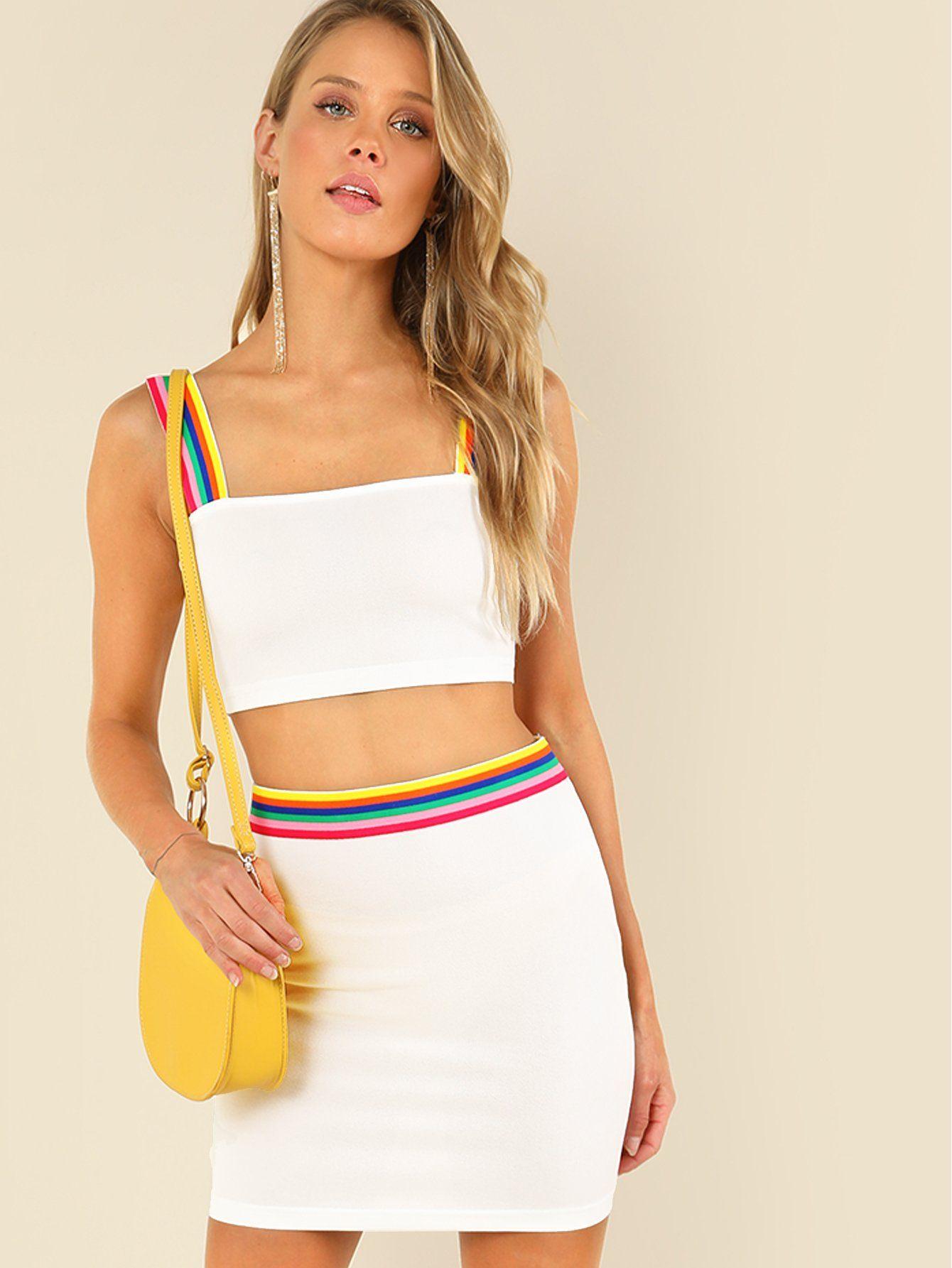 23646811cb Striped Tape Detail Crop Top & Skirt Set -SheIn(Sheinside)   Dress ...