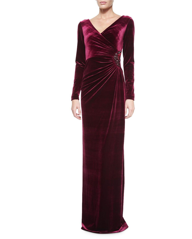 Longsleeve fauxwrap gown merlot size rickie freeman for