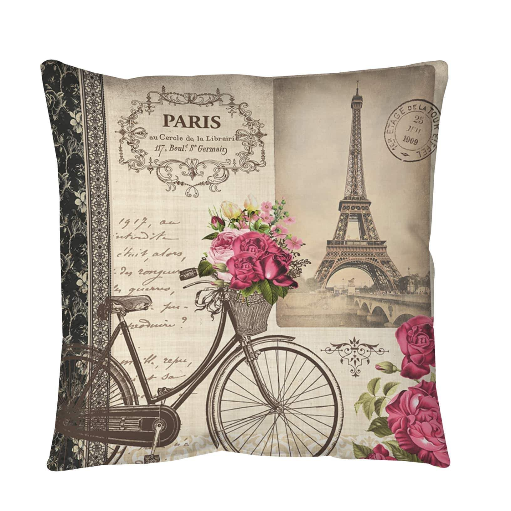 Thumbprintz Springtime in Paris Bicycle Throw or Floor Pillow