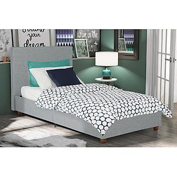 Dorel Home Furnishings Dorel Alexander Light Grey Twin Linen Upholstered Bed Upholstered Panel Bed Upholstered Beds Upholstered Platform Bed