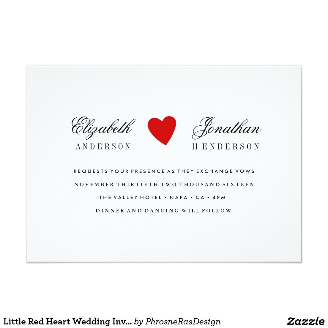 Little Red Heart Wedding Invitation | Zazzle - My products for sale ...