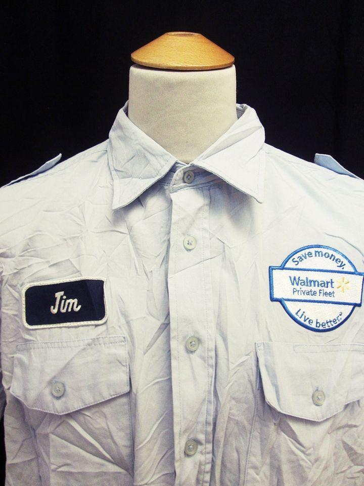 Retro 90s USA Flag Walmart Security Guard Name Tag Jim Work Shirt ...