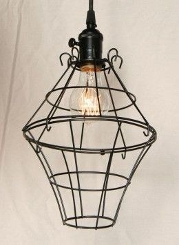 Antique Early 20th Century Black Wire Cage Pendant Light, c.1910