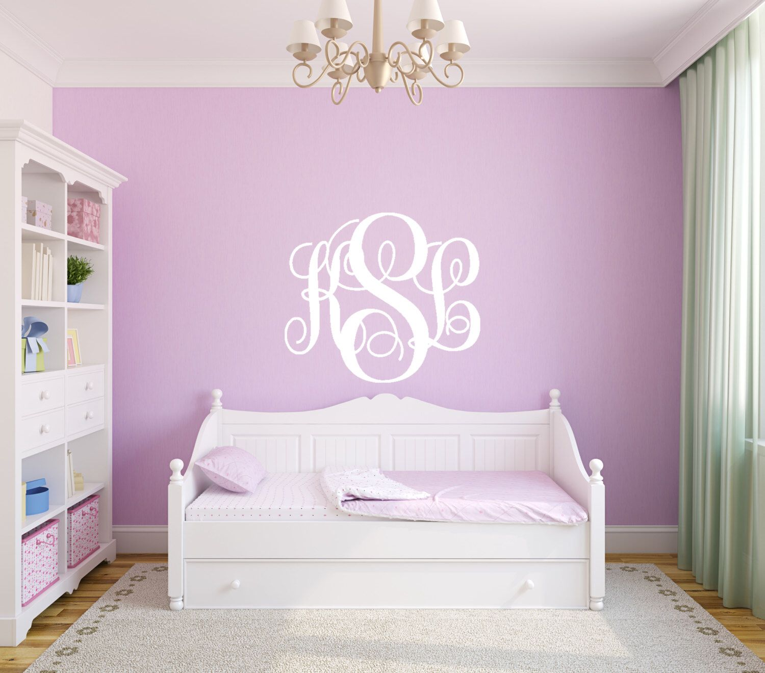 Vine Monogram Wall Decal Room Wall Decor Vinyl Decal Sticker - Custom made vinyl wall decals