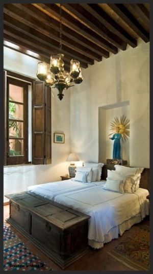 Love the ceiling Love the bed all white Love the contrast of dark wood and white walls