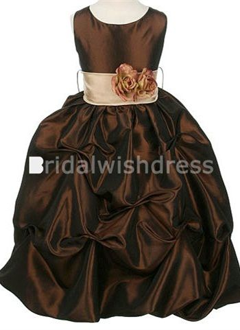 New Sleeveless Dark Brown Taffeta Ball Gown Flower Girl Dress