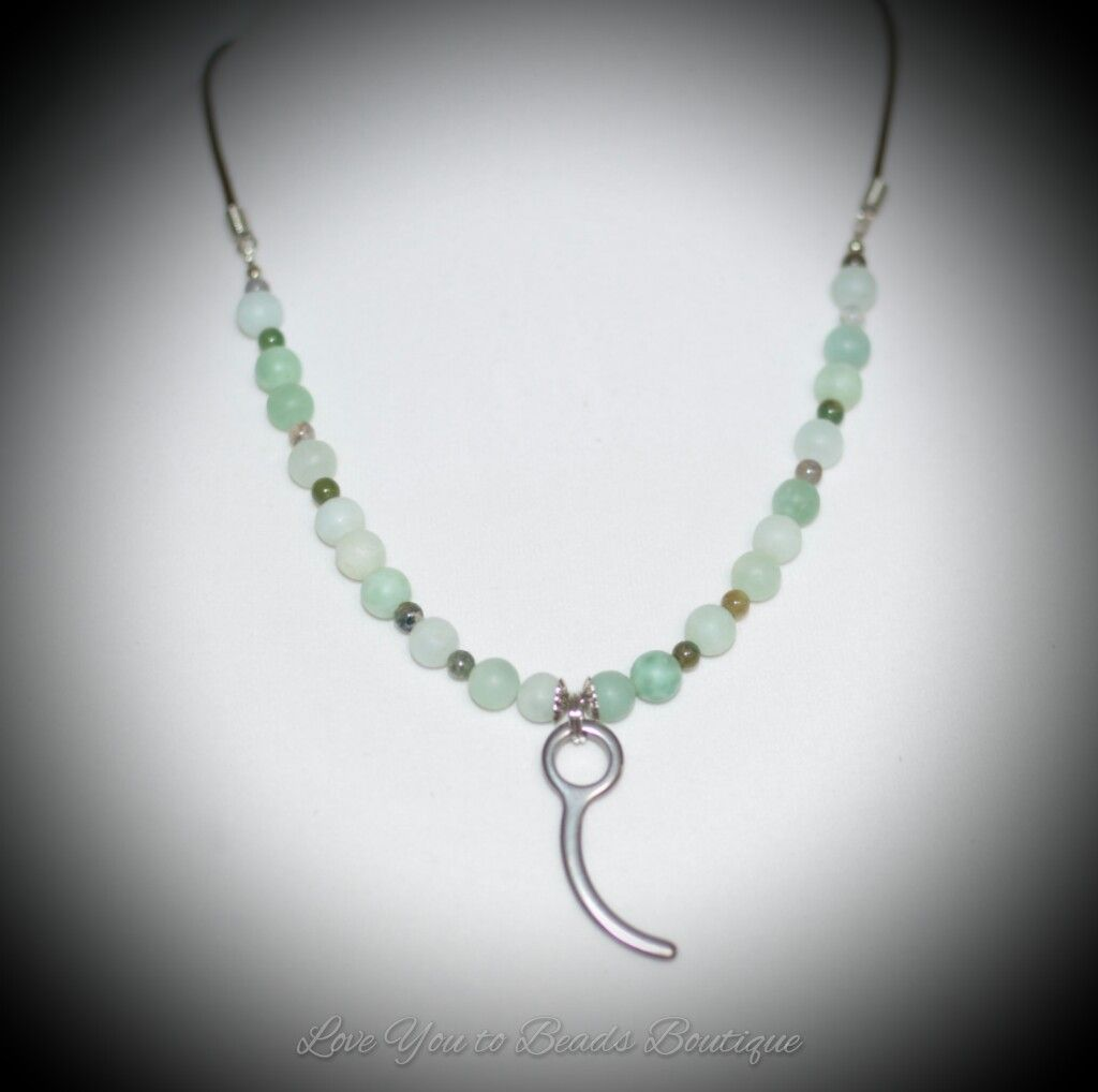 amazonite beads and leather necklace with skydiving closing pin