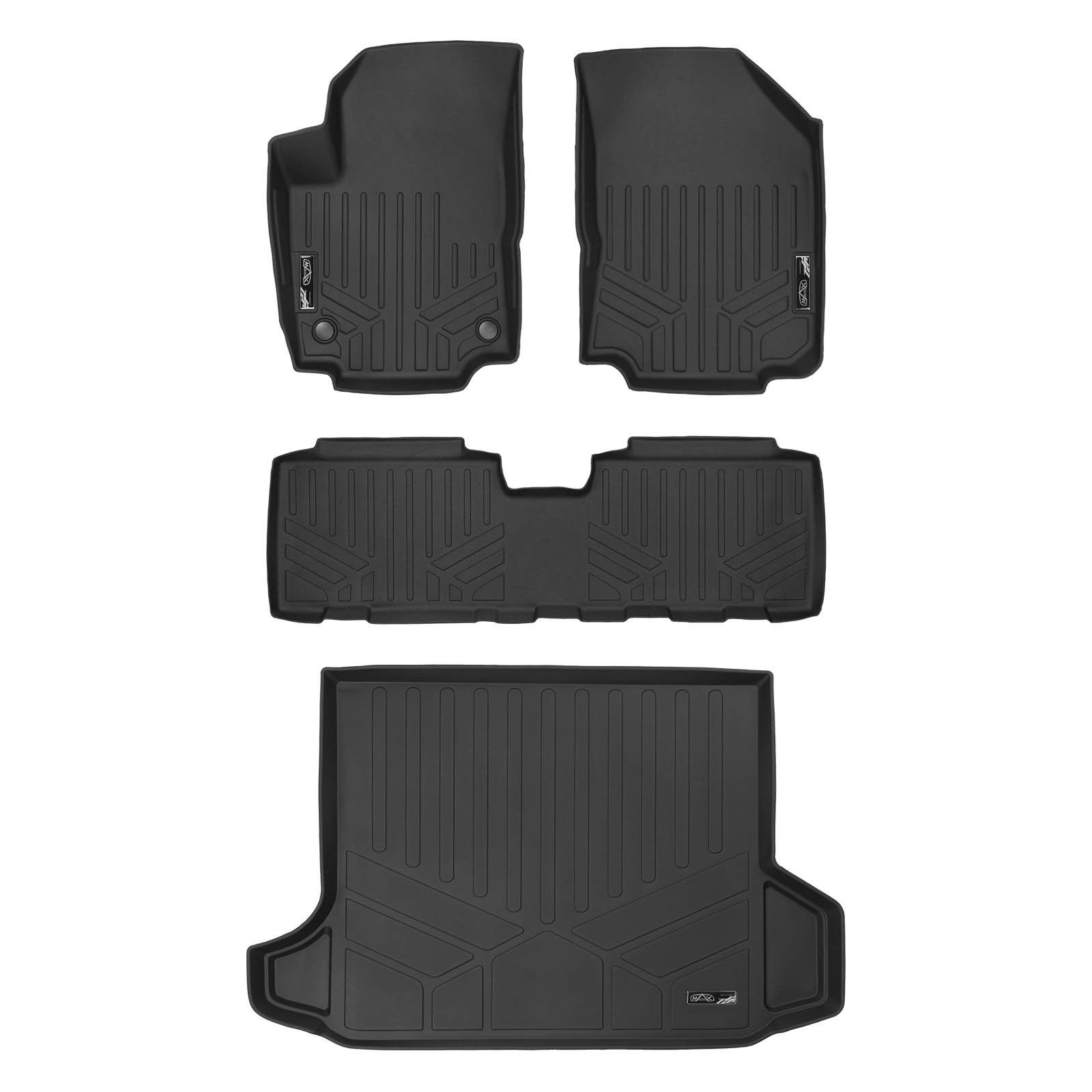 Smartliner Custom Fit Floor Mats 2 Rows And Cargo Liner Black For