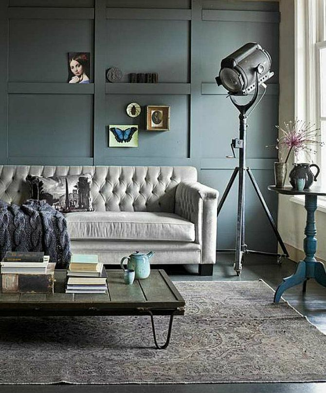 Feature floor lamps in your industrial style living room Samt - wohnzimmer industrial style