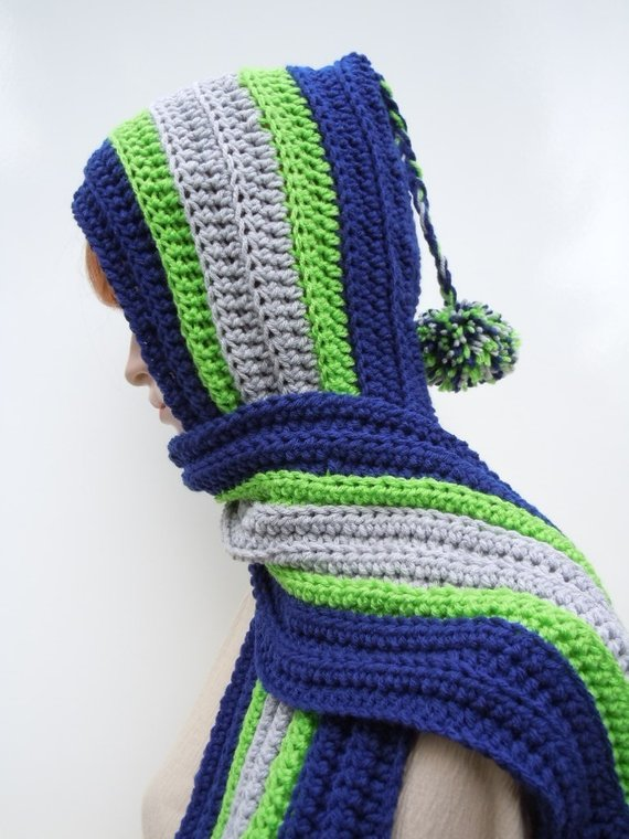 15016589aa9e5d Sports Team Hooded Scarf, Blue, Lime, Lighter Gray Scarf - Team Spirit  Hooded Scarf - Scoodie - Croc