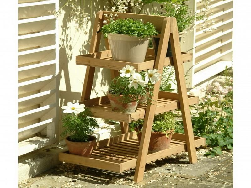 New Garden Trading Wooden 3 Tier Tray Plant Pot Stand Holder Rack