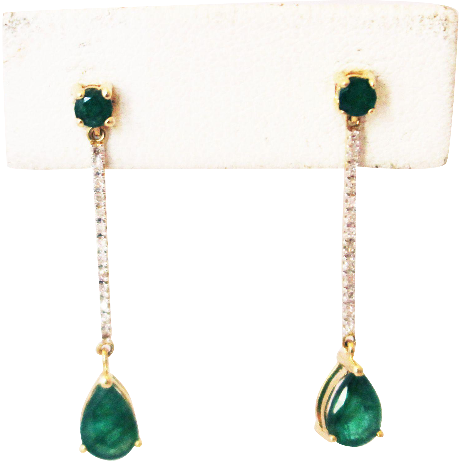 diamonds ct and sterling silver with natural itm emerald in gold earrings