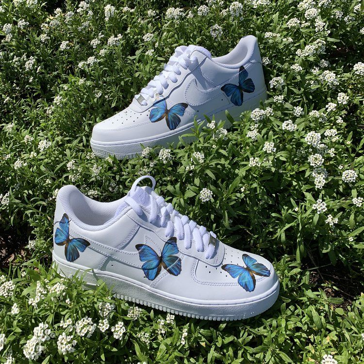 Blue HD Clear Butterfly Air Force 1 in 2020 | Nike shoes air