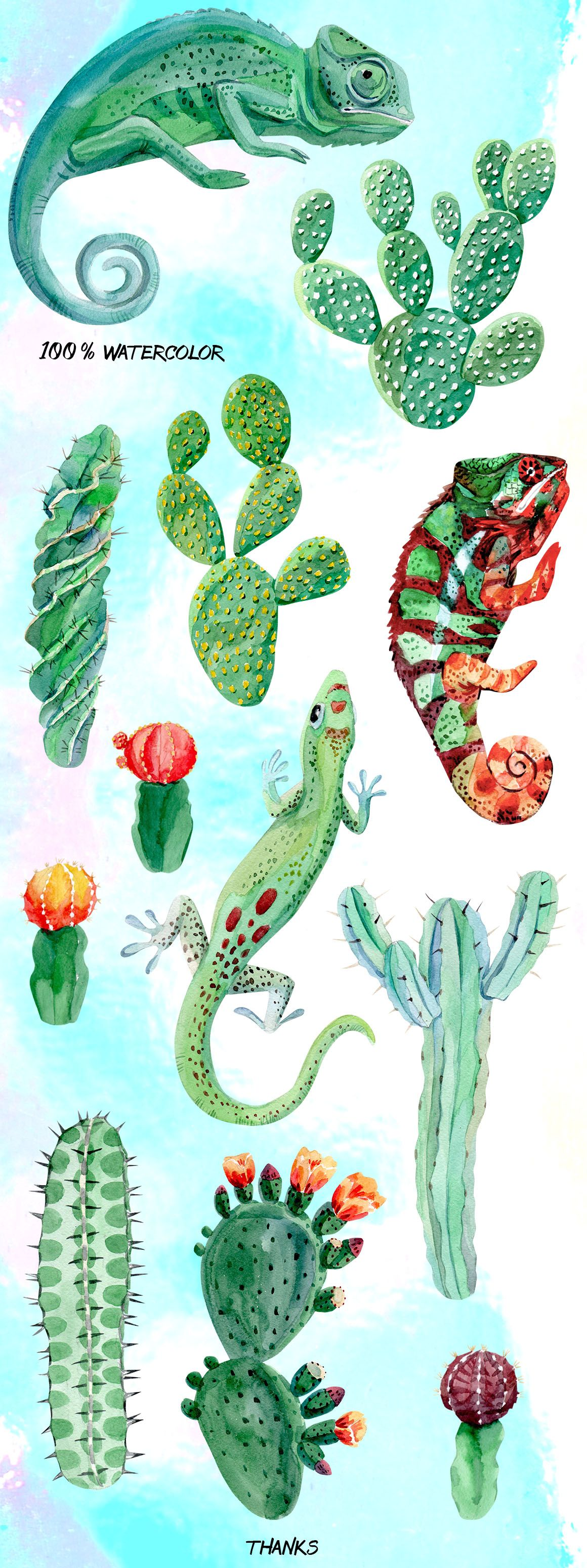 Chameleon and cactus. Watercolor set | Lagartos, Marrón y Cactus