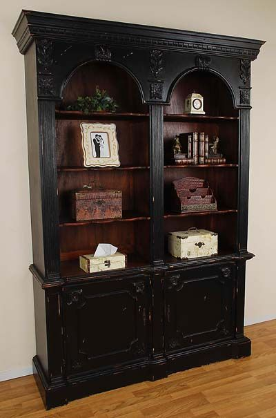 Double Arch Bookcase Black Distressed Bookcase Black Bookcase Furniture Makeover