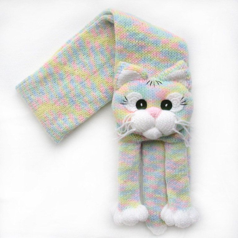 Knitted cat scarf,Knitted kids scarf,Animal scarf,Cat scarf,Knit ...