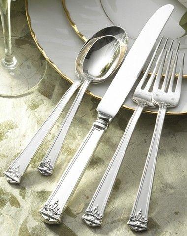 Trianon 5 Piece Sterling Silver Flatware Set Service For 1 Sterling Silver Flatware Flatware Set Silver Flatware