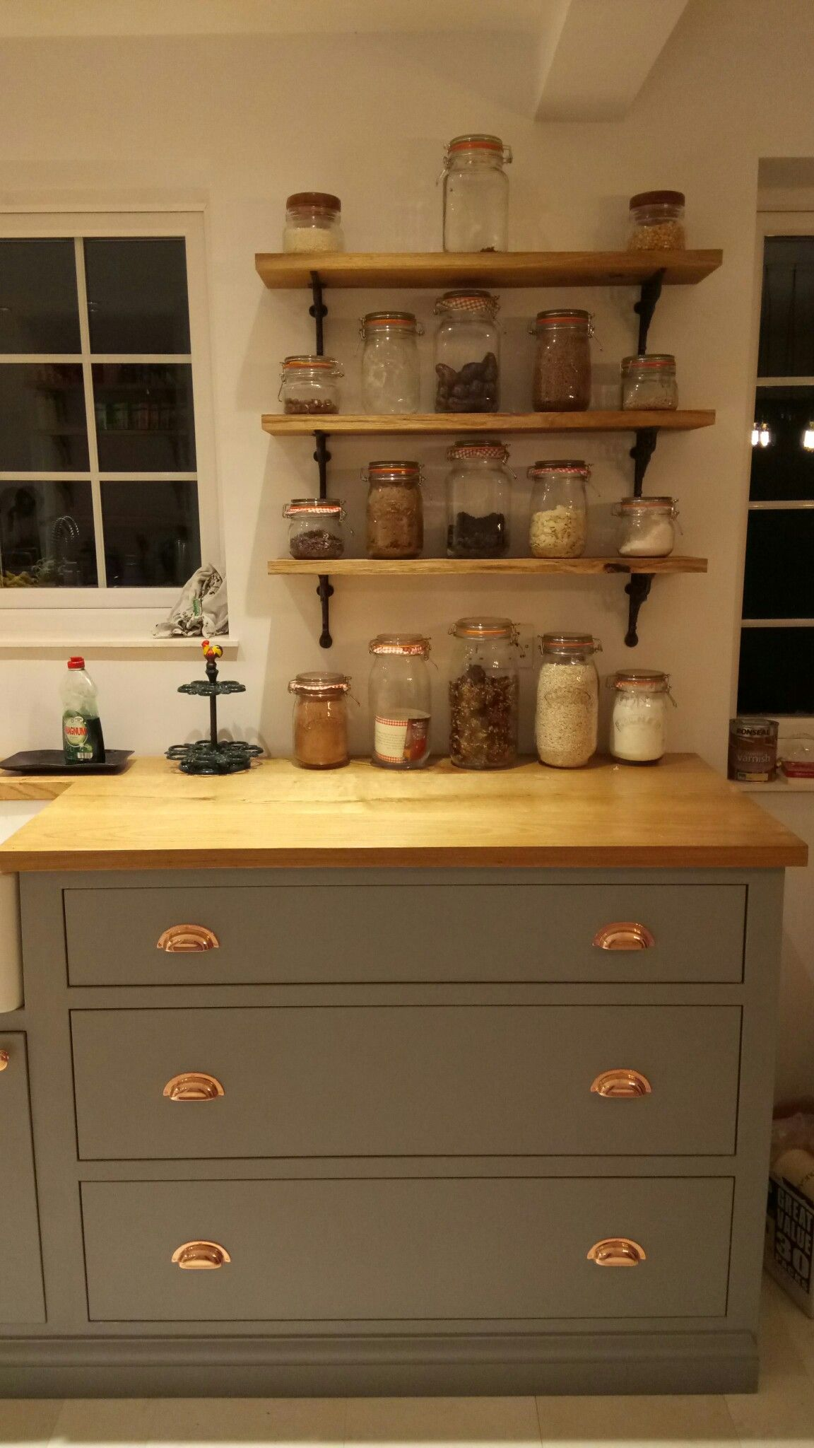 Custom built kitchen grey copper oak shelves rustic kilner jars