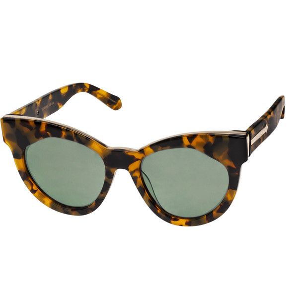 f87f591a68d4 Karen Walker Starburst Cat Eye Crazy Tortoise with Gold ($300) ❤ liked on Polyvore  featuring accessories, eyewear, sunglasses, crazy tortoise, ...