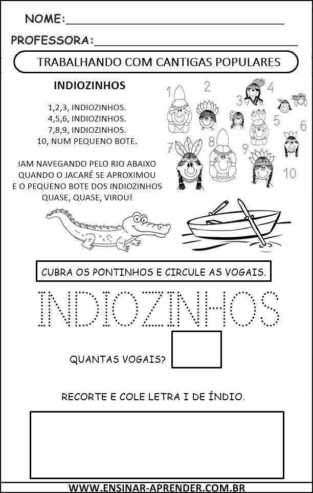 Indiozinhos Cantiga1 Atividades Atividades Para Educacao