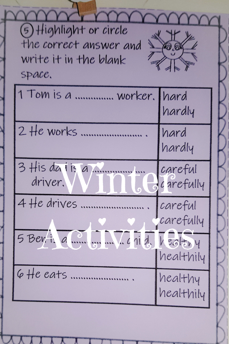 Winter Themed Worksheets Present Tense Past Tense Adjectives And Adverbs Adjectives Subject And Verb Past Tense [ 1102 x 735 Pixel ]