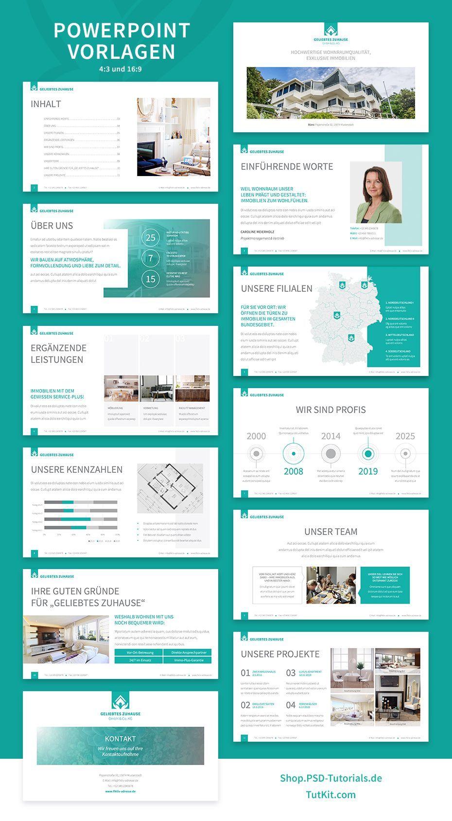 Elegantes Corporate Design Fur Den Bereich Immobilien In 2020 Powerpoint Presentation Design Modern Powerpoint Design Corporate Design