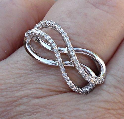 Double Infinity Diamond Ring 14K White Gold Infinity Ring $575