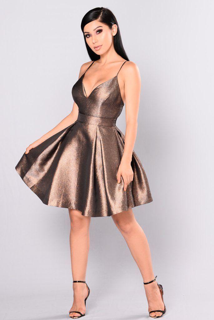 9eaddbc8fe0bf Steal The Show Metallic Dress - Bronze | DFL ✨ | Dresses, Fashion ...