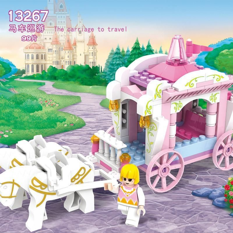 Building Blocks Pink Series Princess Carriage trips Assemble the blocks for girl Kids Brick Toys Compatible with