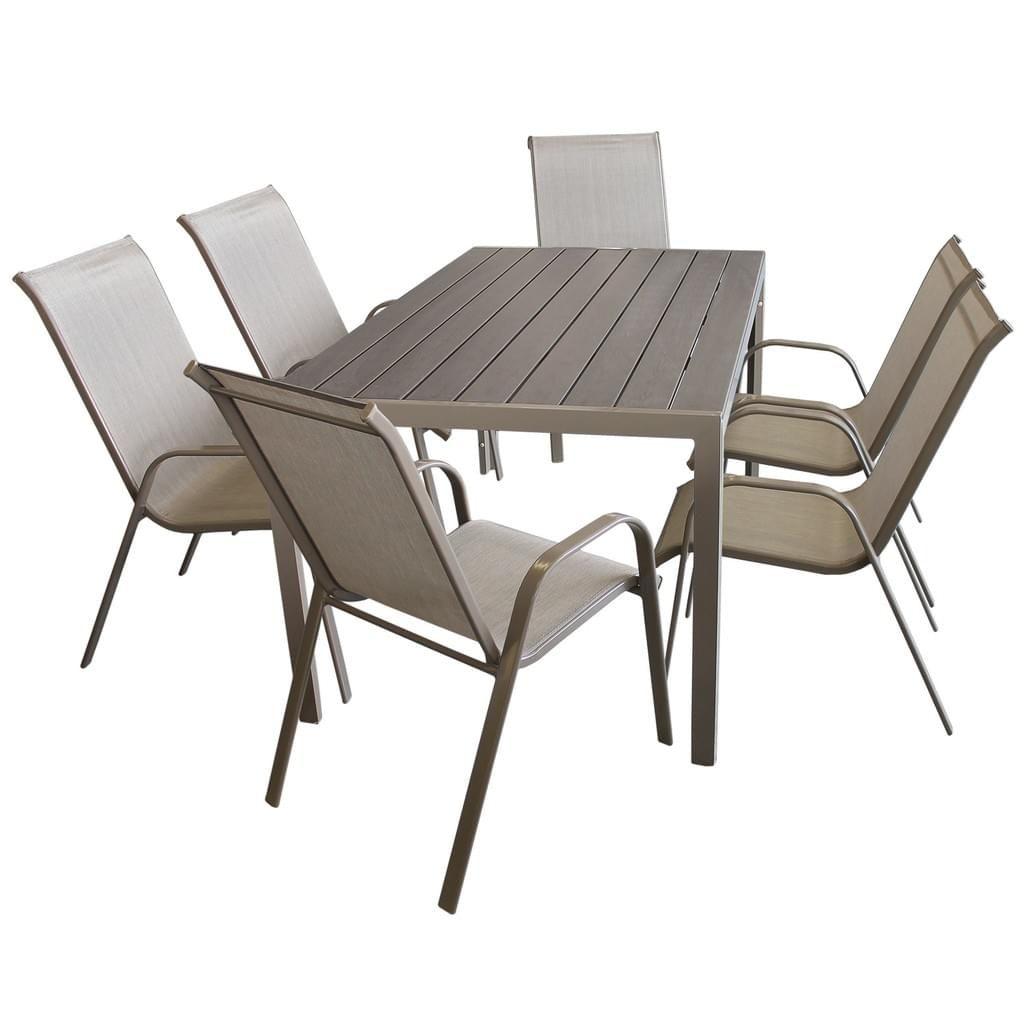 7tlg Gartengarnitur Aluminium Polywood 150x90cm 6x Stapelstuhl