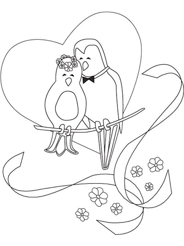 kleurplaten trouwen duiven