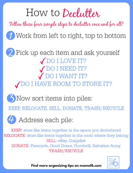 How to Declutter Your Entire Home (free printable instructions!)