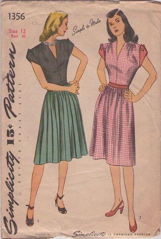 Vintage 40s Sewing Pattern Simplicity Swing Era Day Dress Via Momspatterns Autumn Fashion Women Vintage Outfits Classy Vintage Outfits