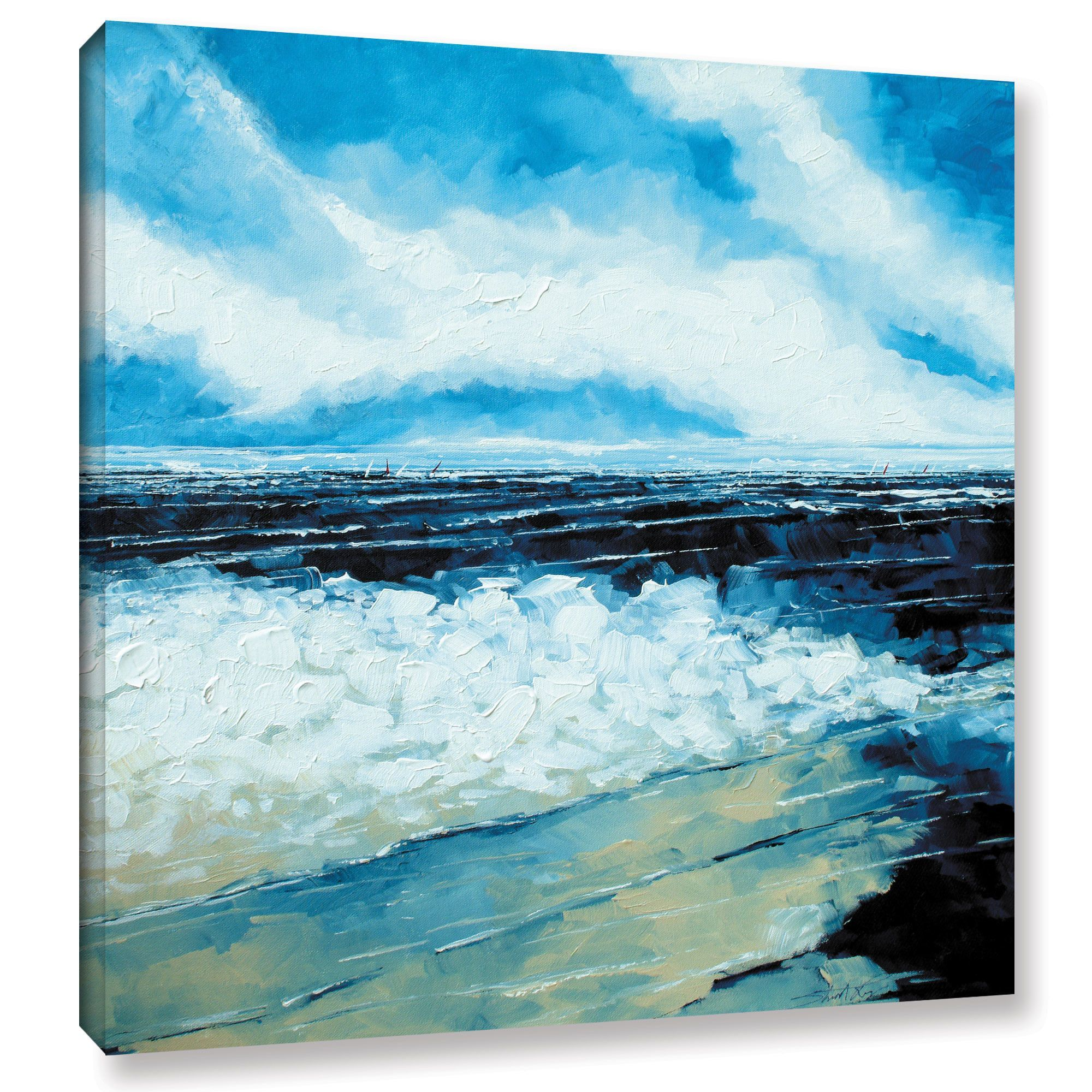 On The Beach Painting Print On Wrapped Canvas Beach Wall Decor