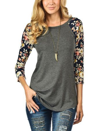 c47a21ca0624 Look what I found on #zulily! Charcoal Floral Raglan Top #zulilyfinds