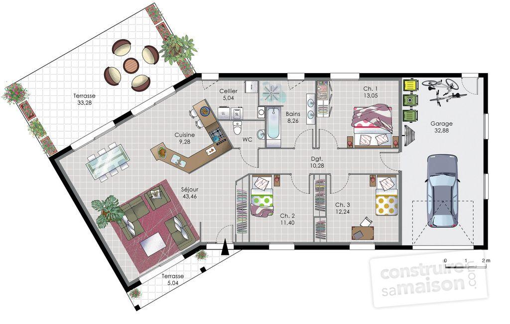 Gut bekannt Maison de plain-pied 7 | Maison de plain pied, Plain pied et  EJ73