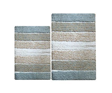 Amazon.com: Chardin Home - 100% Pure Cotton - 2 Piece Cordural Stripe Bath Rug Set, (21''x34'' & 17''x24'') Gray-Beige with Latex spray non-skid backing: Bedding & Bath