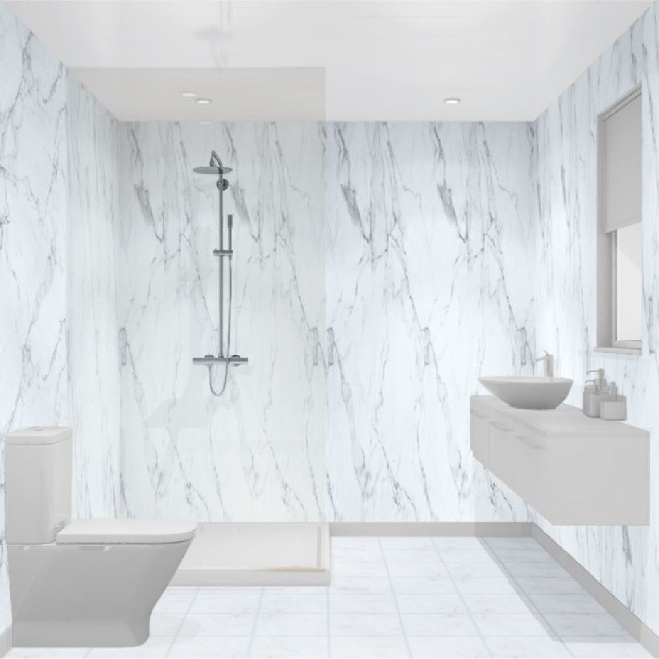 Multipanel Linda Barker Calacatta Marble Hydro Lock Tongue Groove Bathroom Wall Panel Bathroom Wall Panels Shower Wall Panels Waterproof Wall Panels