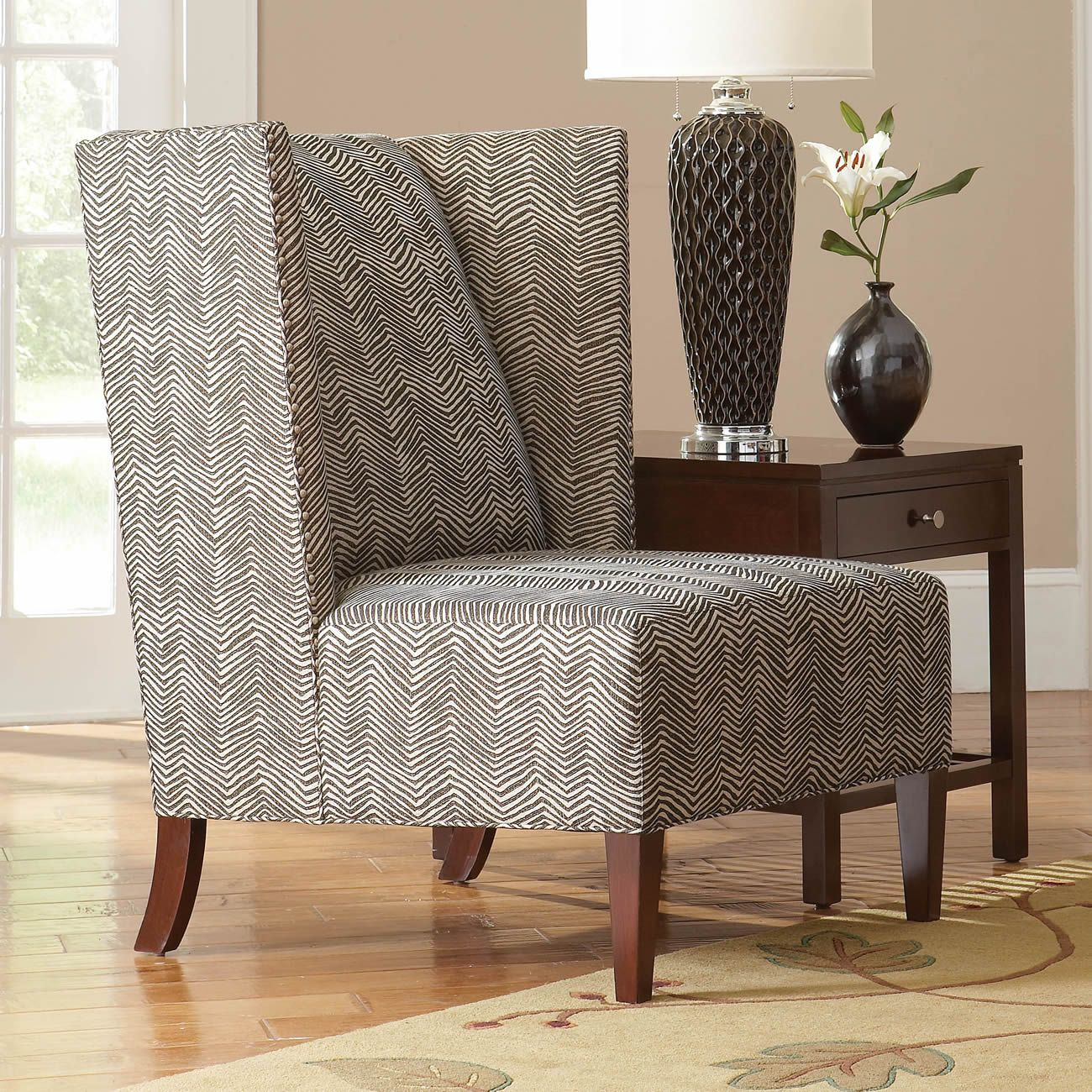 Chevron wing chairs - Stickley Furniture Fairport Wing Chair Modern Lines With A Fun Upholstered Fabric Available Through