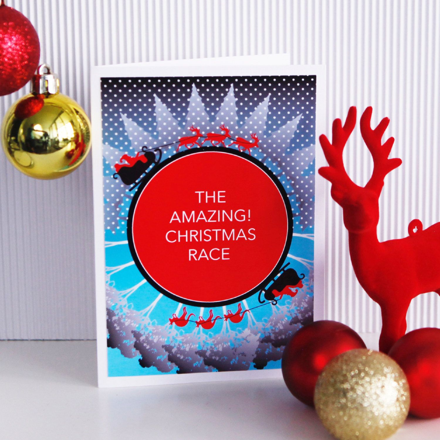 The amazing christmas race card funny xmas card santa reindeer christmas race card funny xmas card santa reindeer kangaroo australian christmas blank or edit personalised message options on etsy kristyandbryce Images
