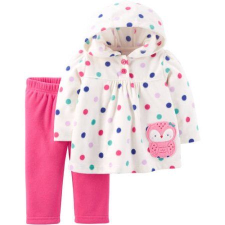 Carter/'s NWT 3M 6M 12 18 24 Infant Girl Fleece Hooded Cardigan Bodysuit Pant set