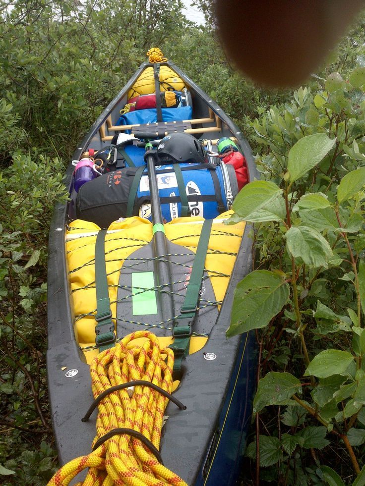 Great packing of a canoe underway, looks like a lot of