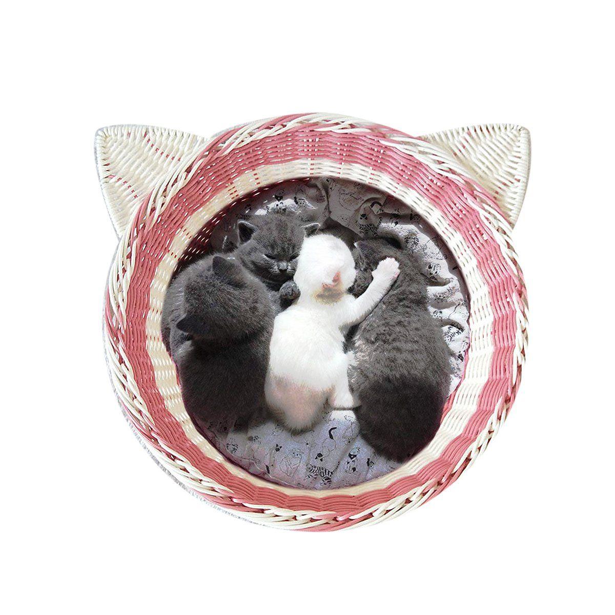 Amakunft Catshaped Imitation Rattan Cat Bed Washable Vine