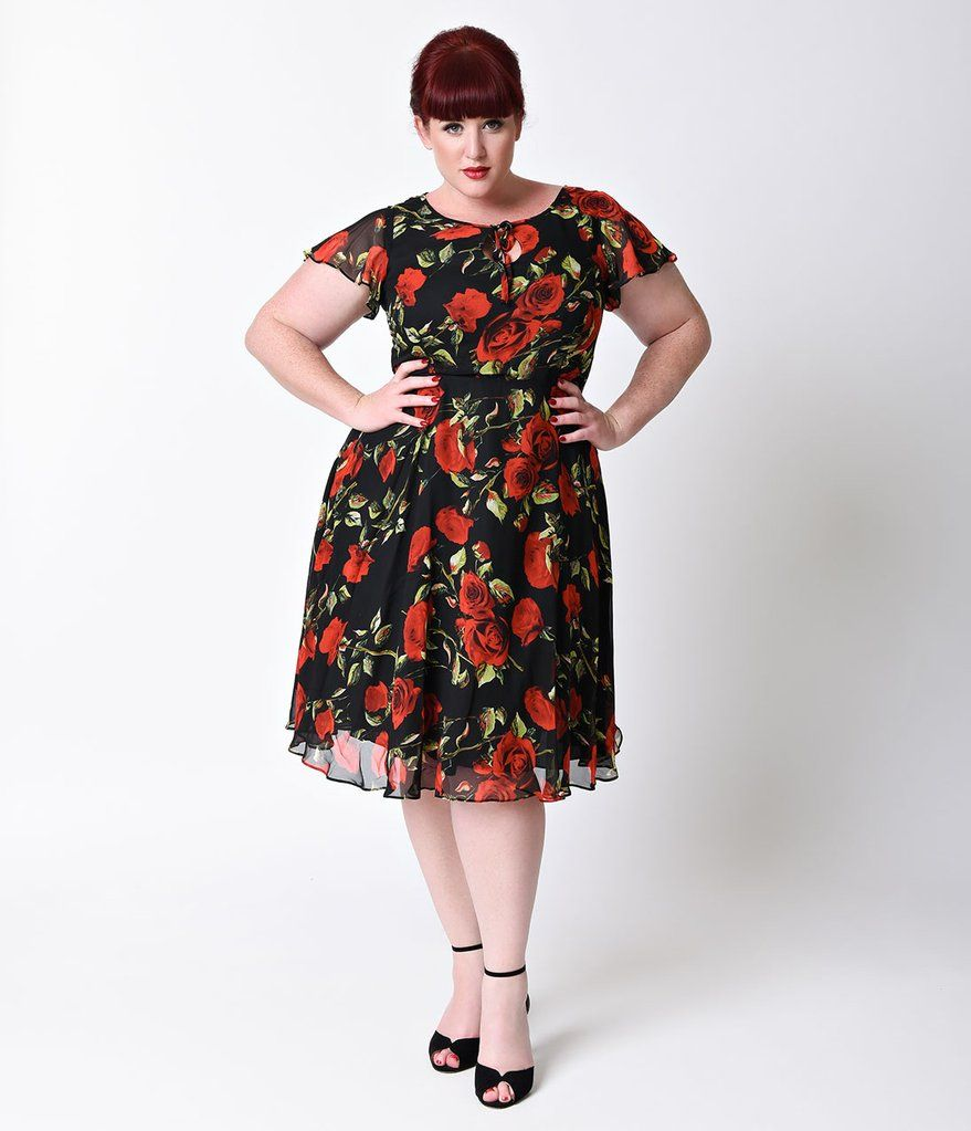 Unique vintage plus size s style black u red rose formosa swing