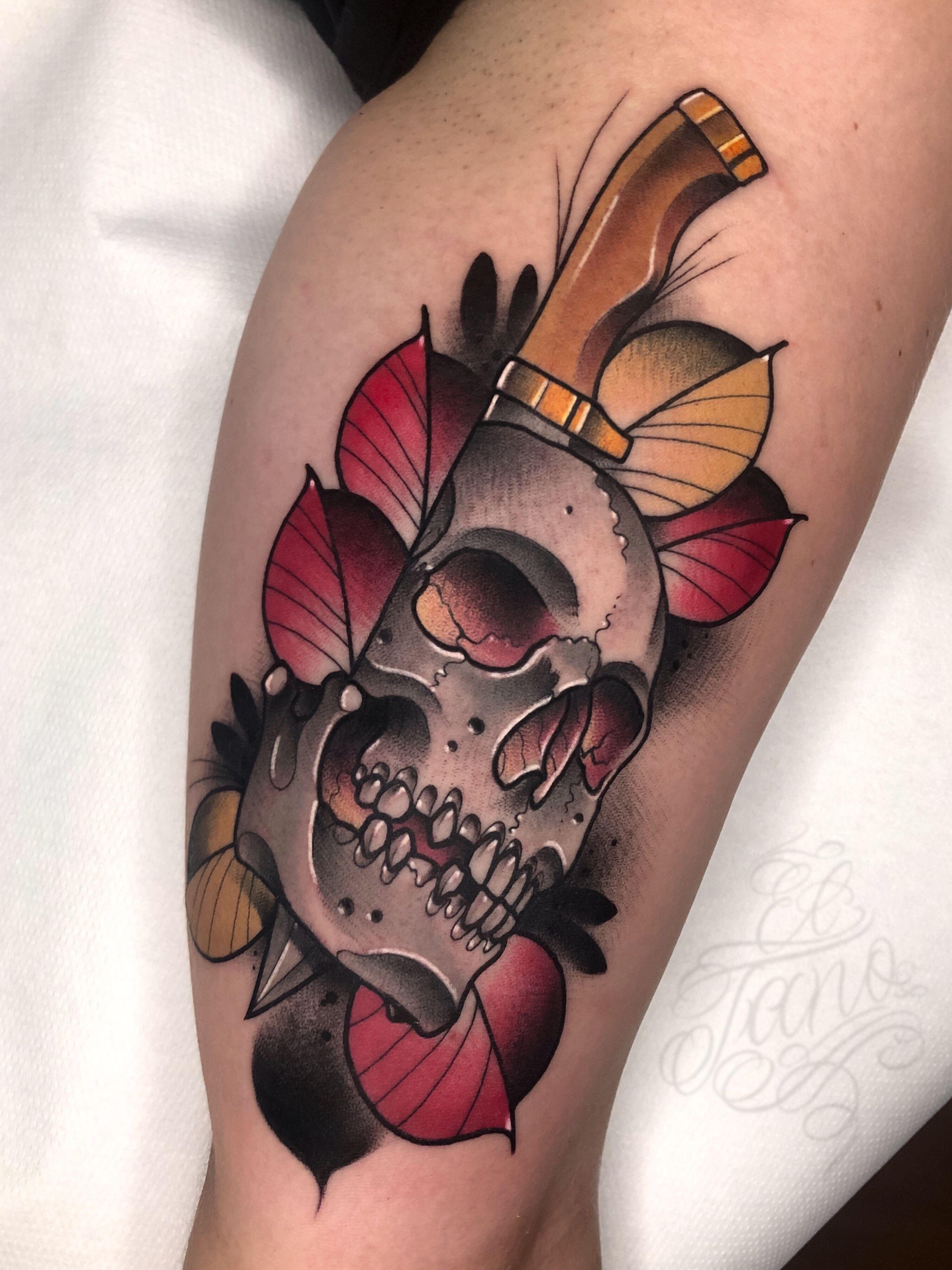 New Trad Skull Neo Tattoo Neo Traditional Tattoo Geometric Tattoo Arm