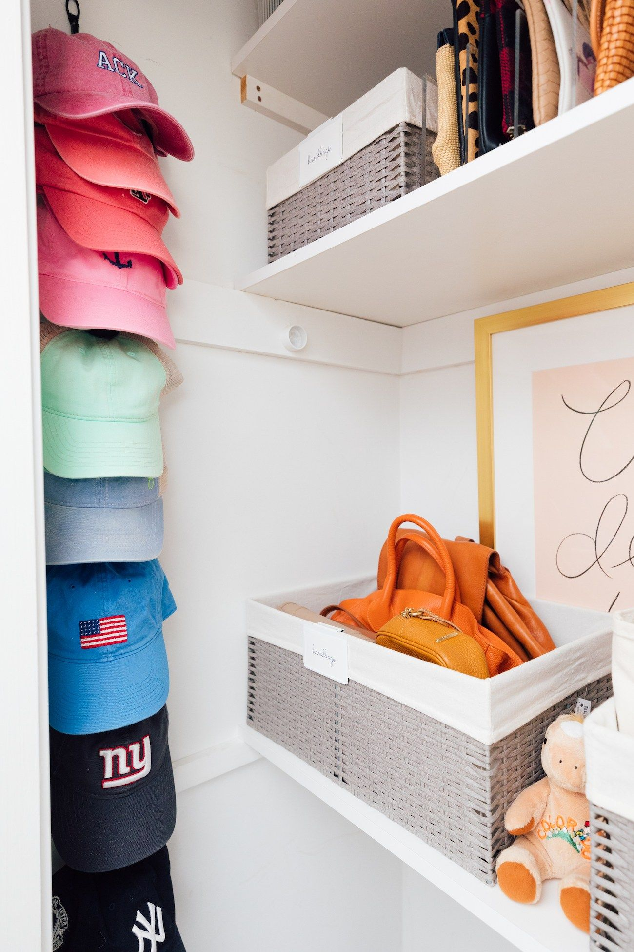 Organizing My Closet Lemon Stripes Storage Closet Organization Hat Storage Home Edit Organization