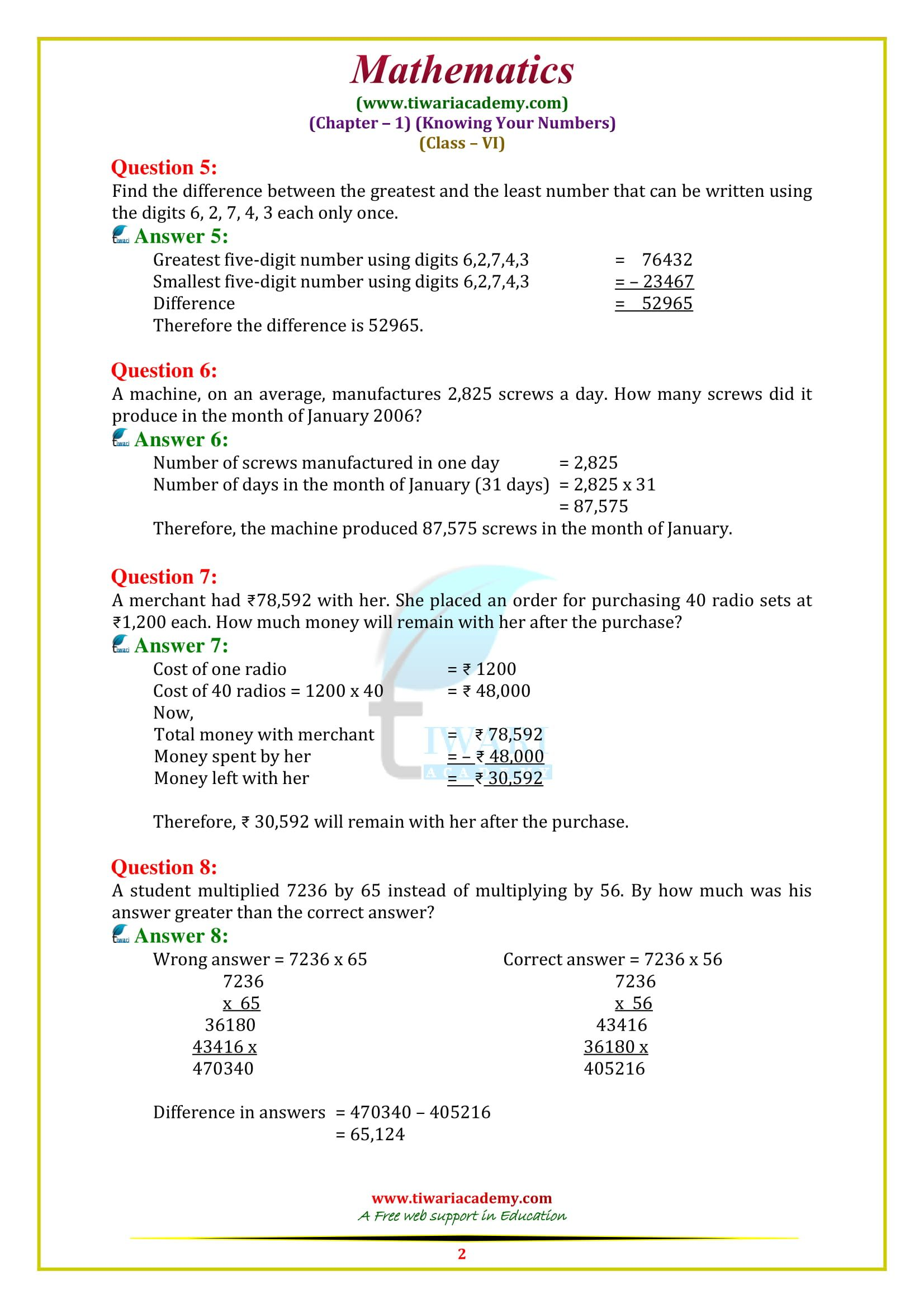 Ncert Solutions For Class 6 Maths Chapter 1