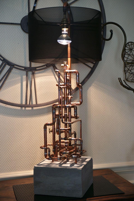 N°001 : Lampe à poser style industriel en cuivre, socle en béton ...